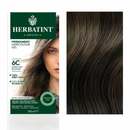 Herbatint 6C Sötét hamvas szőke hajfesték, 150 ml