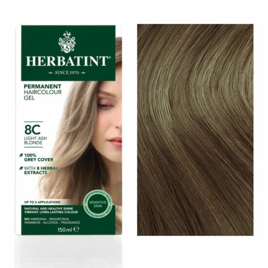 Herbatint 8C Világos hamvas szőke hajfesték, 150 ml