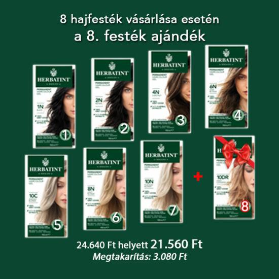 Herbatint hajfesték csomag, 7 db + 1 db ajándék